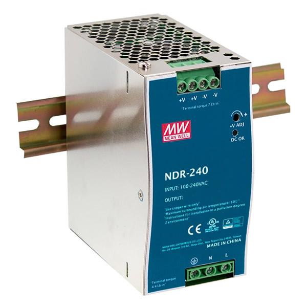 Mean Well NDR240-24 est une alimentation se fixe sur rail DN , l'indice de protection IP20